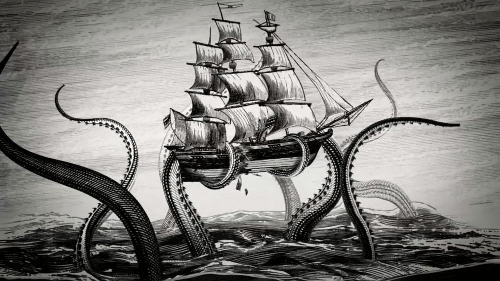 Riesenoktopus Boot Angriff