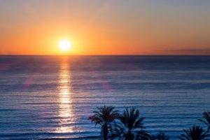 Letzten Sonnenstrahlen auf dem Meer von Mallorca