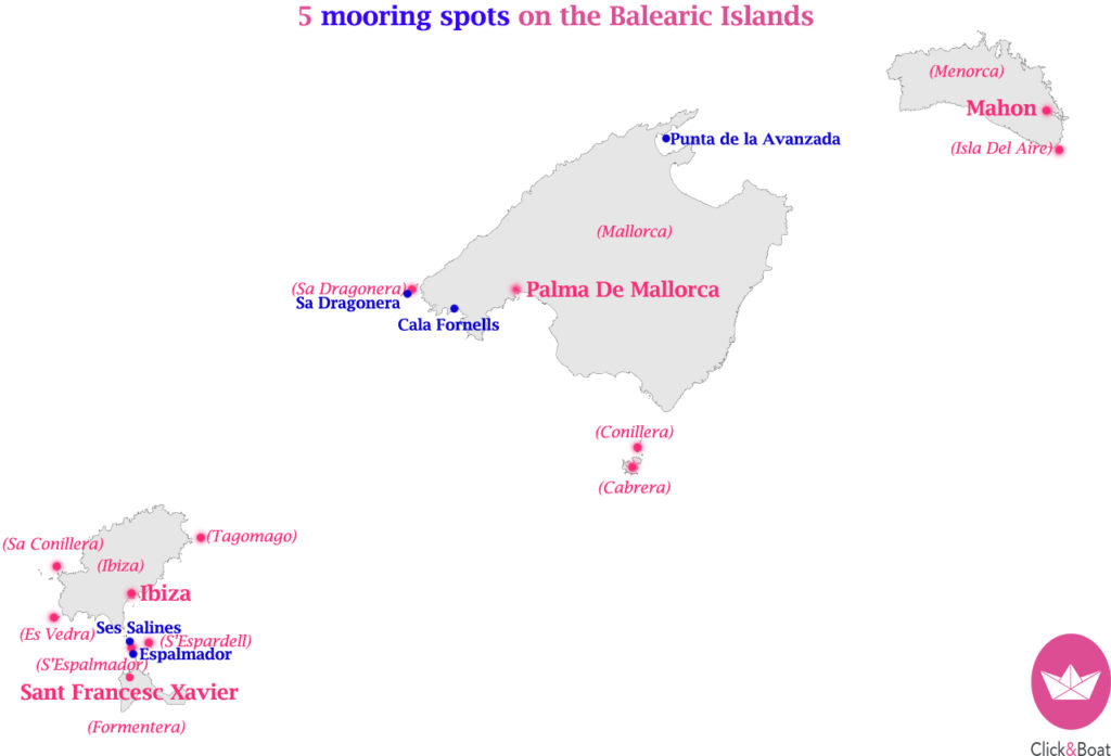 map of Balearic mooring spots