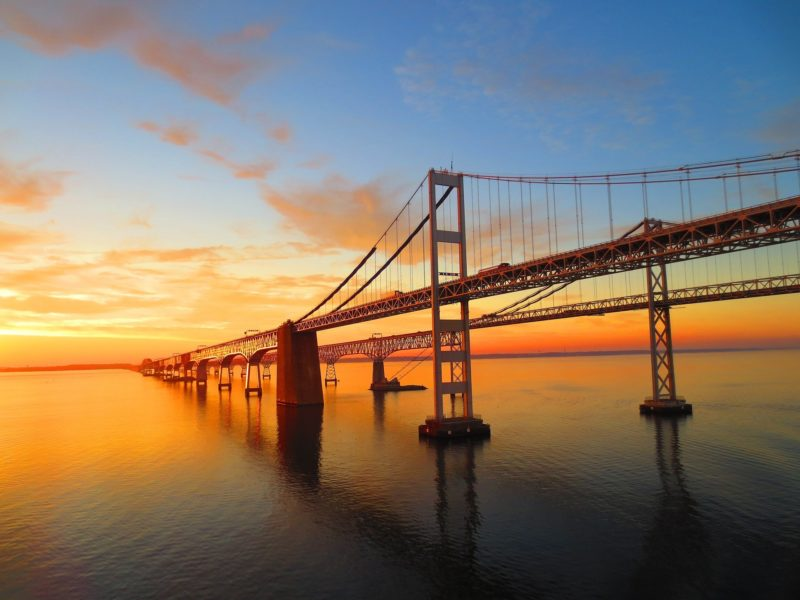 View of Bay Bridge at Sunset