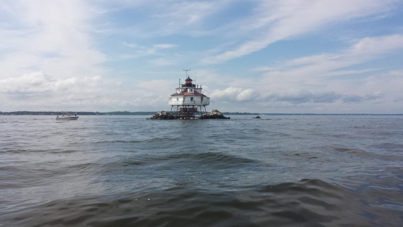 A lighthouse standing in the Chesapeake Bay