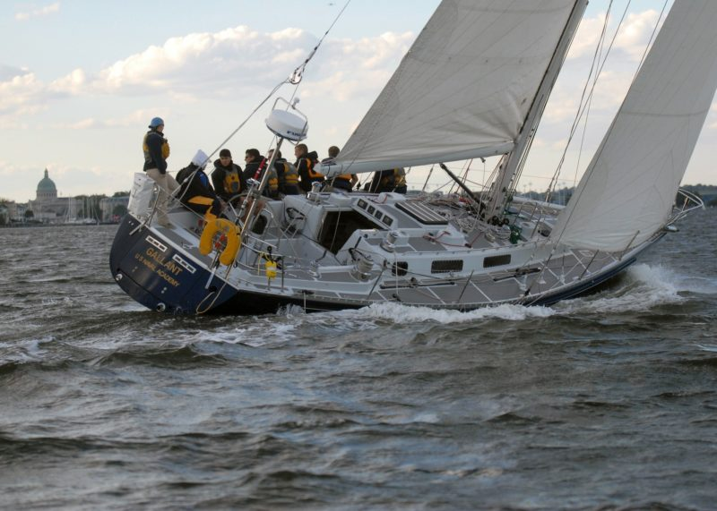 Naval Academy Racing on a Sailboat