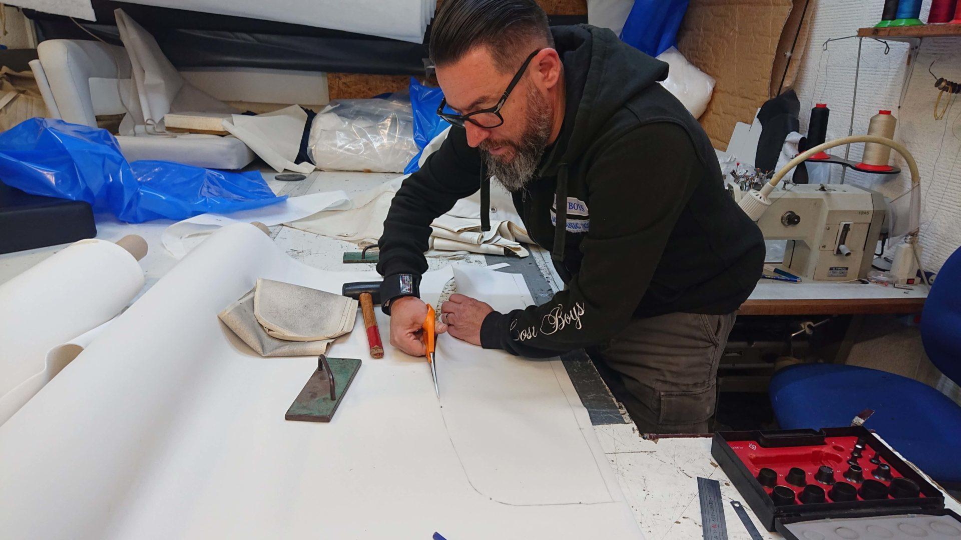 Herve Ondedieu working in his workshop