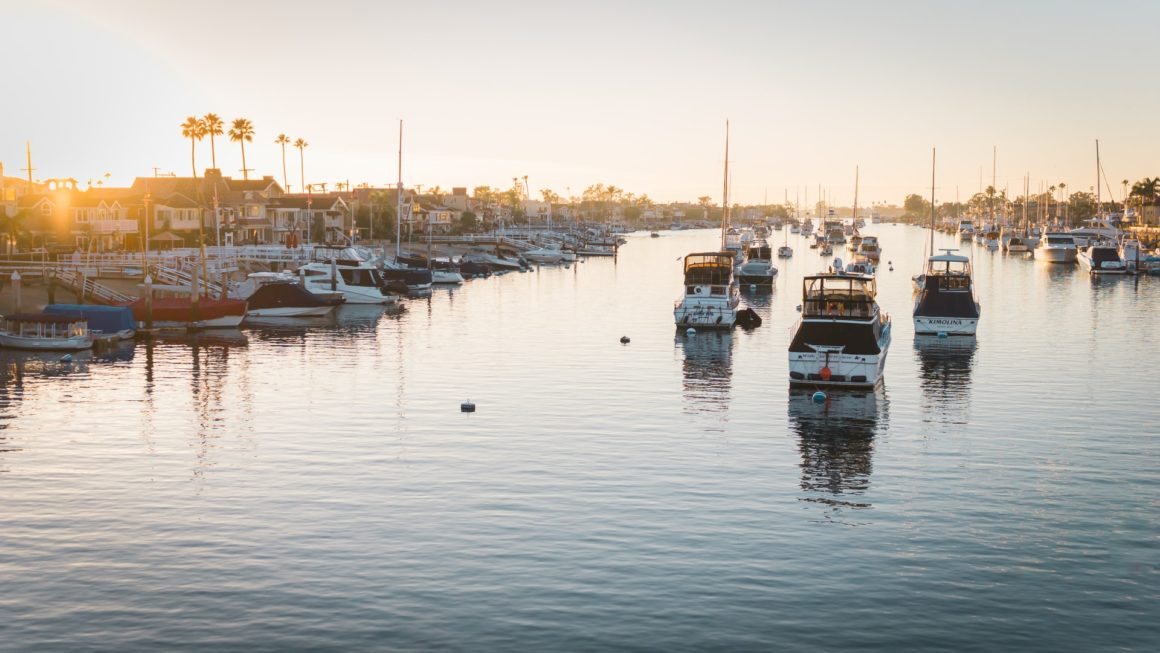 Boats in a Marina in Newport Beach