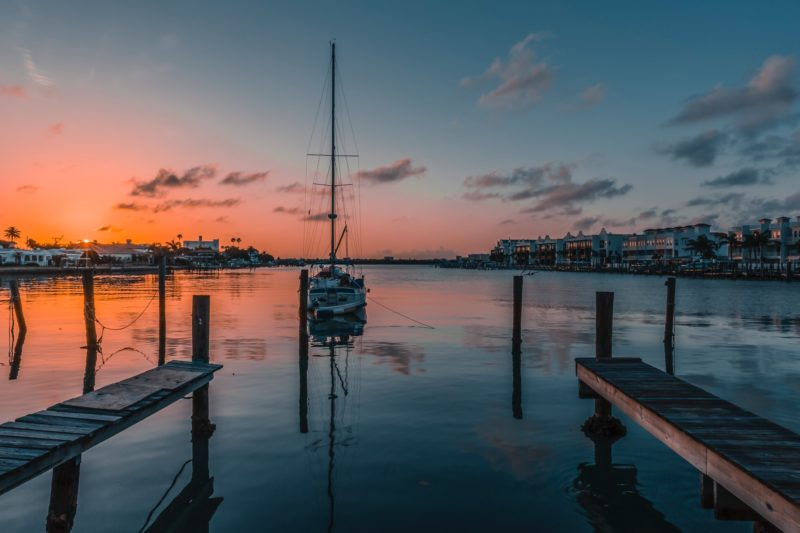 View of a sailboat during a sunset in Florida