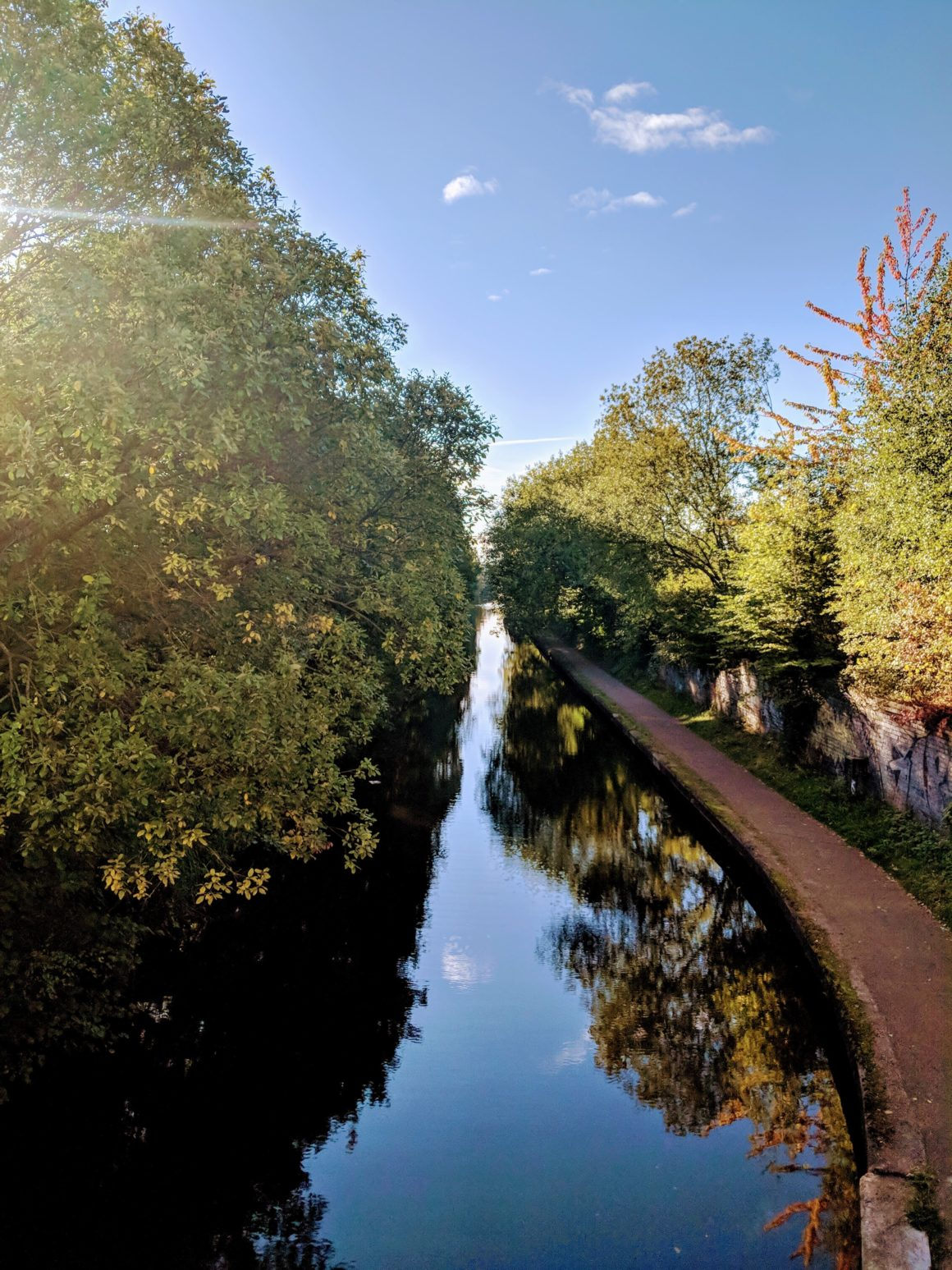 Canal passing through Selly Oak in Birmingham
