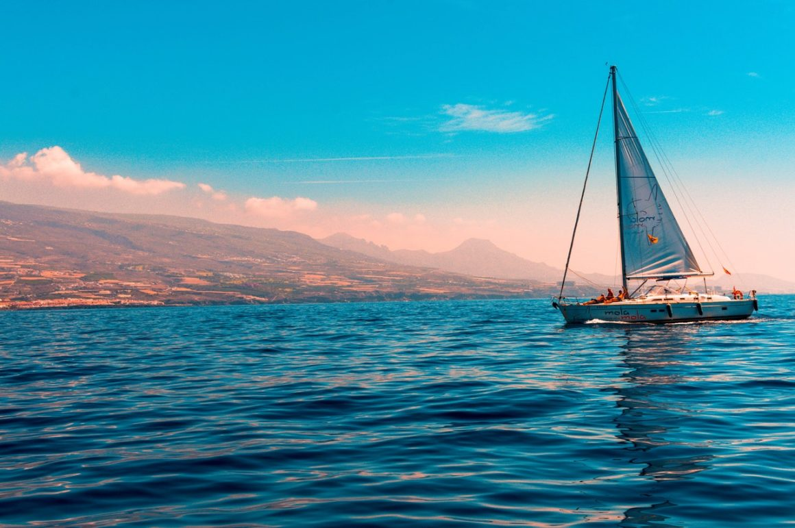 A sailboat sailing on the sea