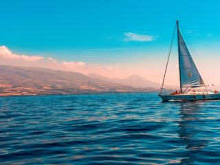 A sailboat sailing on the sea