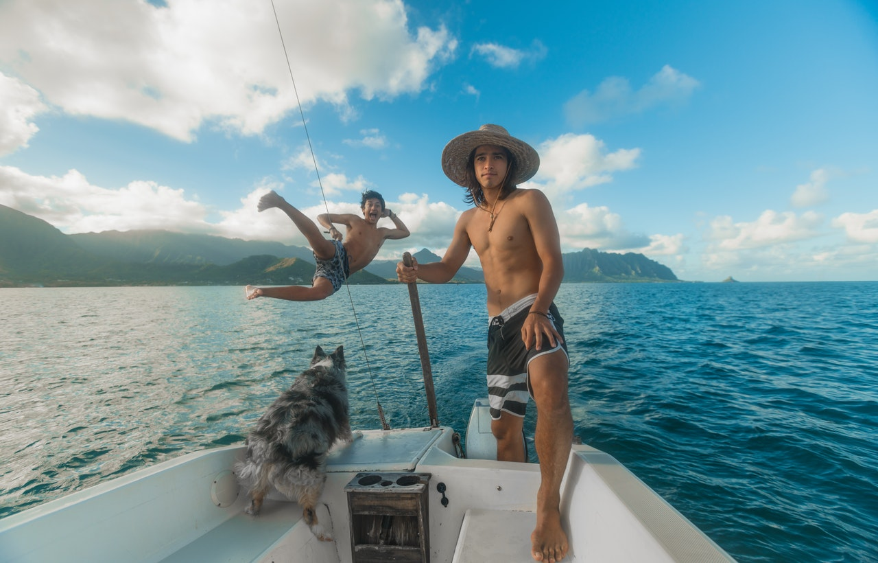 Swimming with dog on board