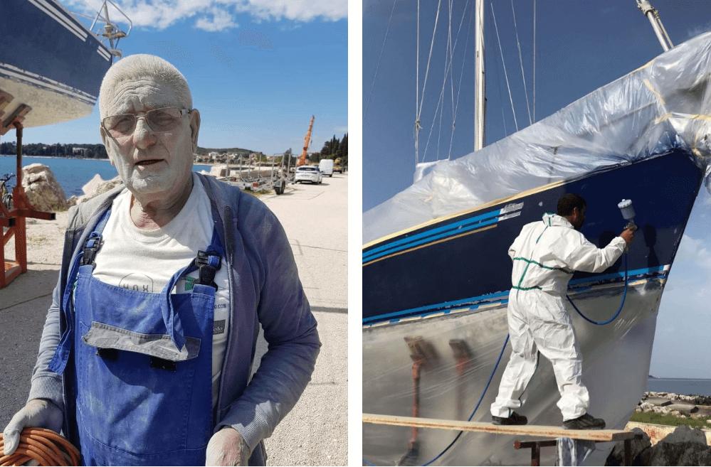 lavori sulla barca a vela