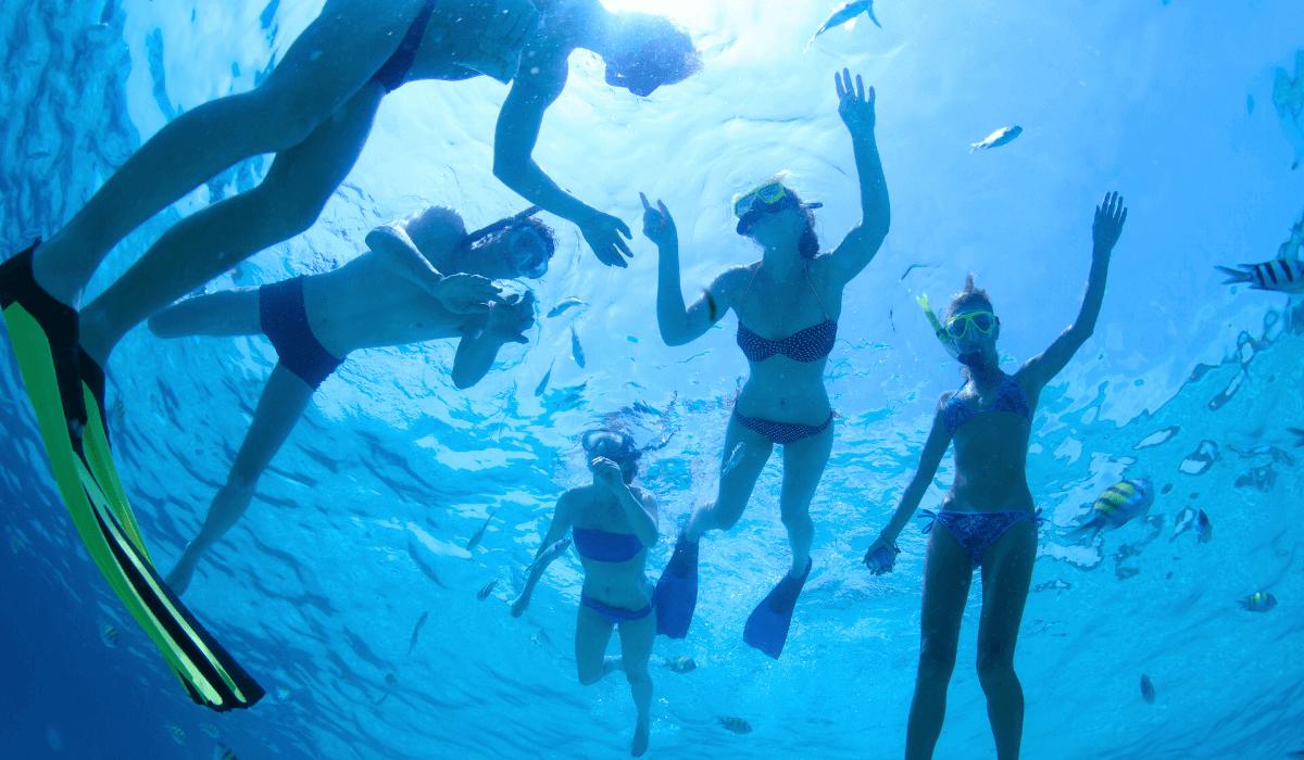 gruppo che fa snorkeling