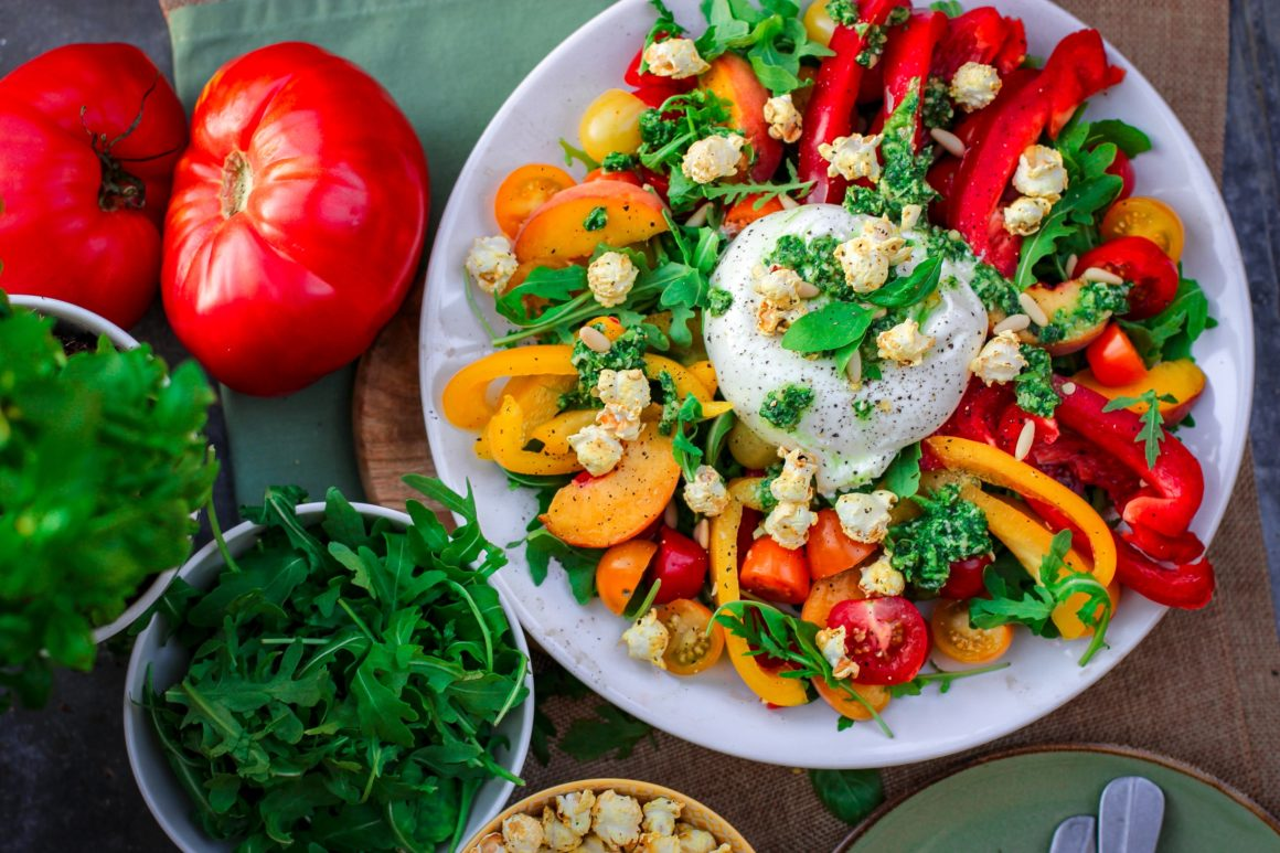 gegrilde groenten burrata