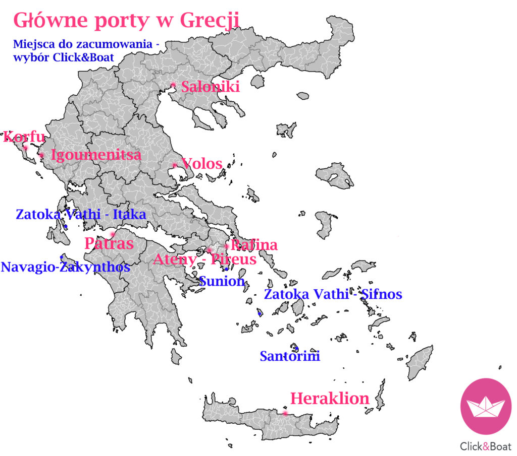 mapa porty grecja cumowanie