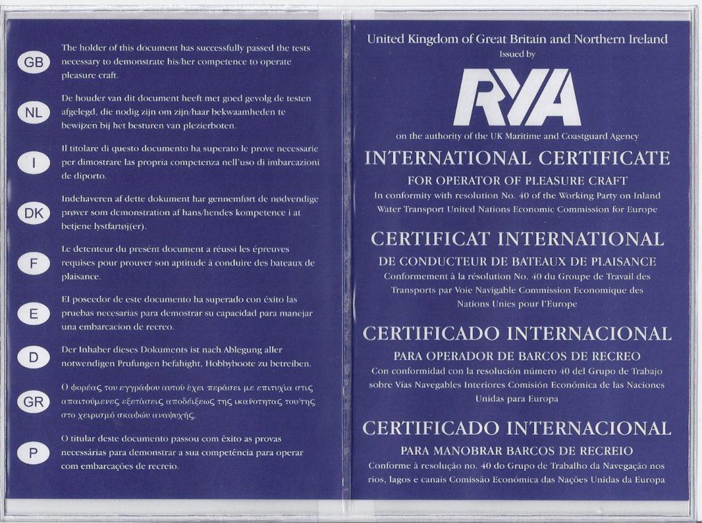 Międzynarodowy patent żeglarski certyfikat RYA