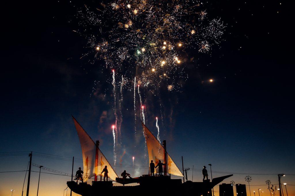 Jacht żaglowy fajerwerki