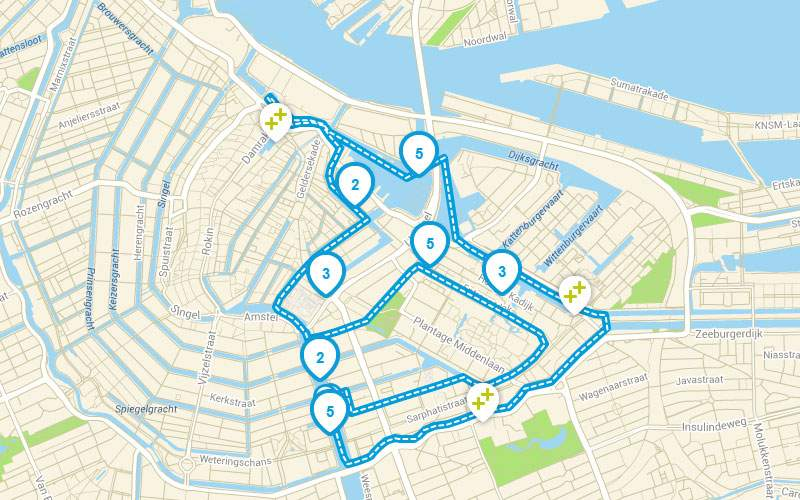 Zielony Amsterdam łodzią trasa