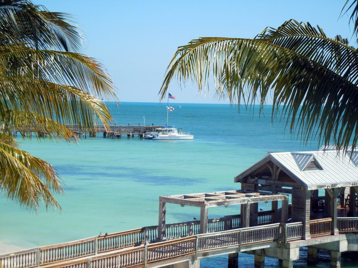 Dock and turqouise waters in Key West, Florida