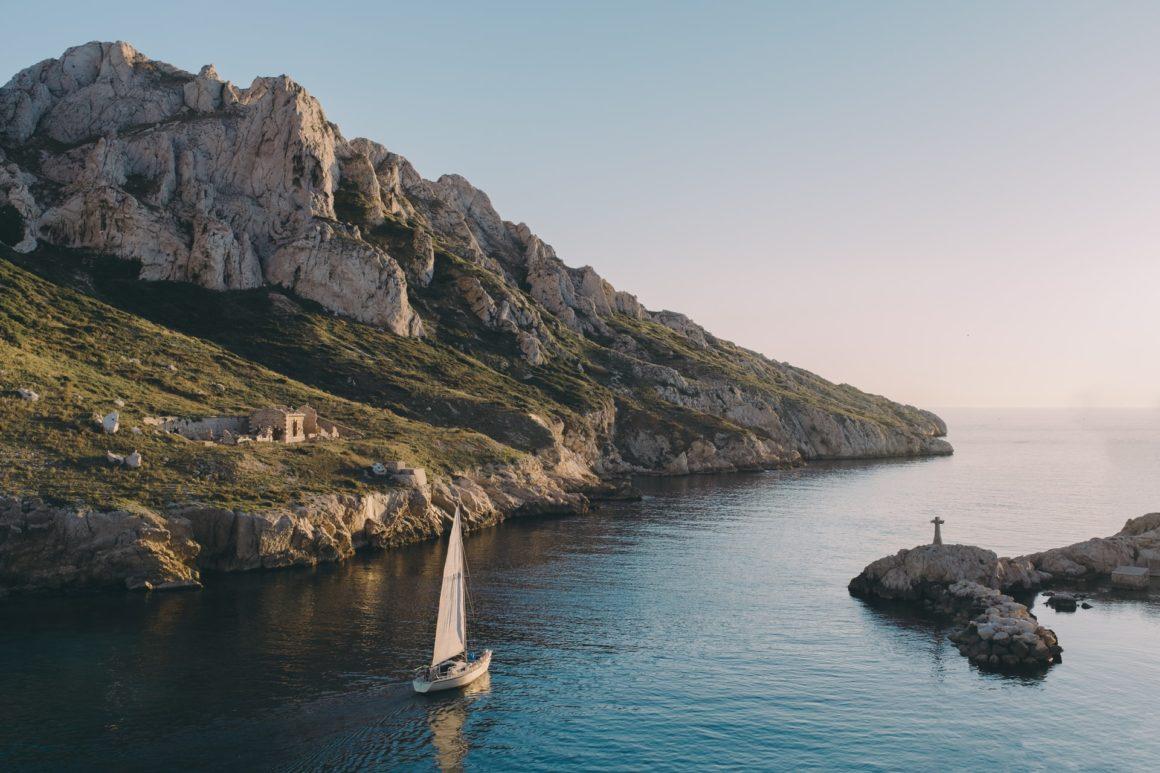 Sailboat along the coast of Marseille