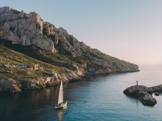 Sailboat along the coast of Marseille