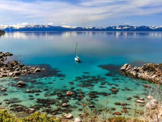 Sailboat in the middle of Lake Tahoe