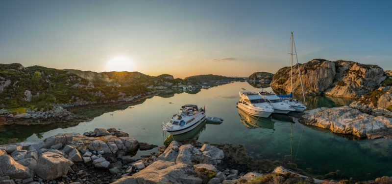 Boats anchored in Norway