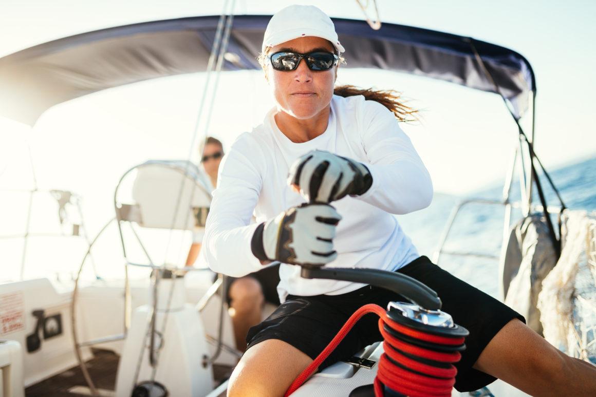 Female sailor on board a sailboat
