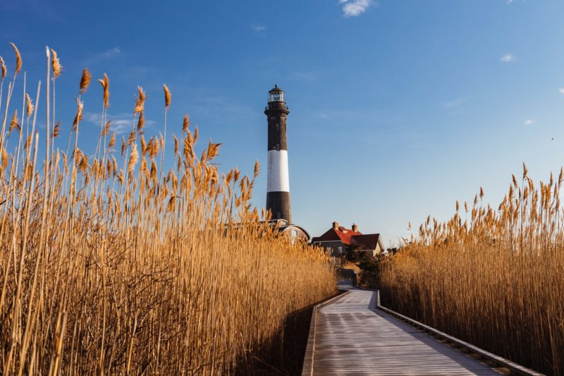 View of a lighthouse located in the Hamptons, NY