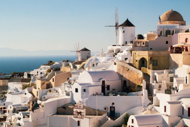 View of homes and windmills in Santorini