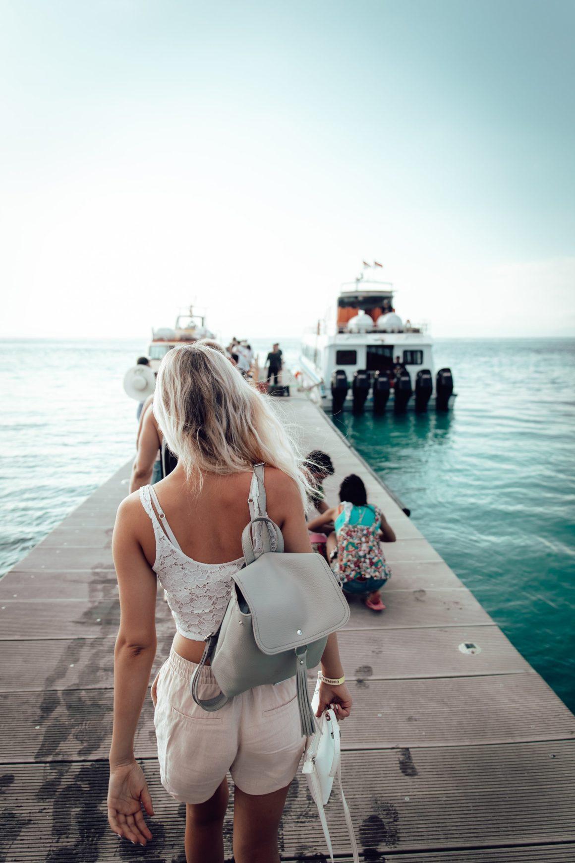 Women boarding a boat