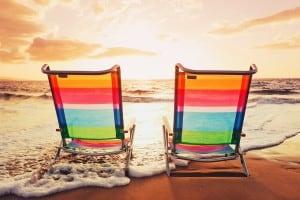 Chaises longues plages - idée pour la saint-valentin