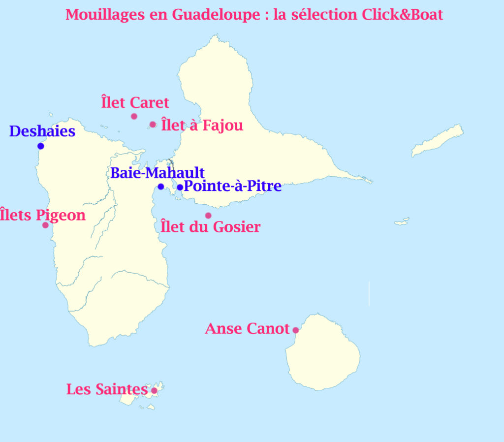 carte mouillages guadeloupe