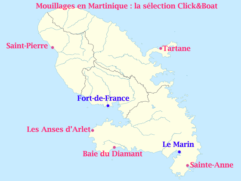 carte martinique mouillages click and boat